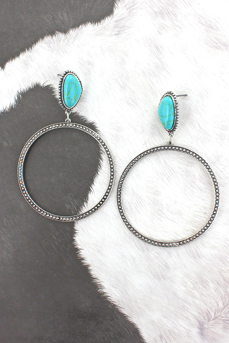 Turquoise Stone and Textured Silvertone Hoop Earrings