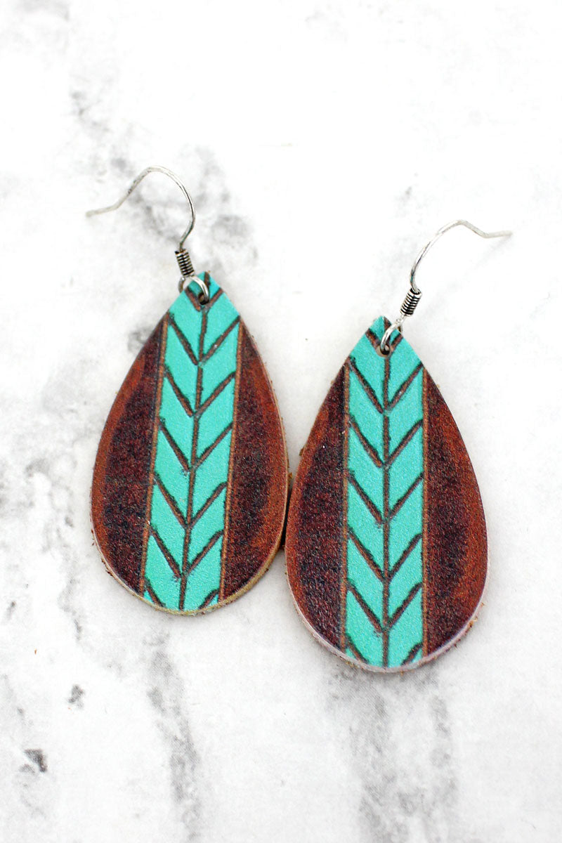 Turquiose Chevron Stripe Brown Teardrop Earrings