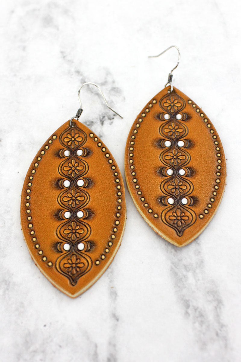Brown and Ivory Moroccan Marquise Earrings