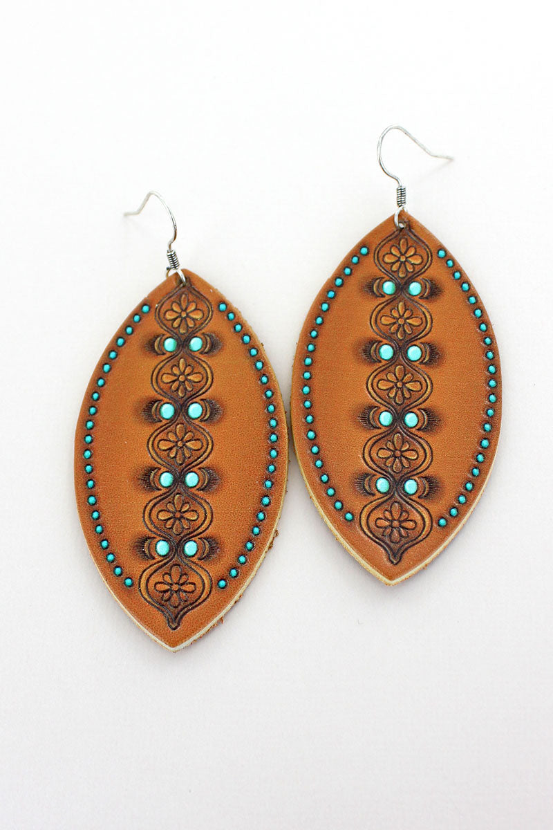 Brown and Turquoise Moroccan Marquise Earrings