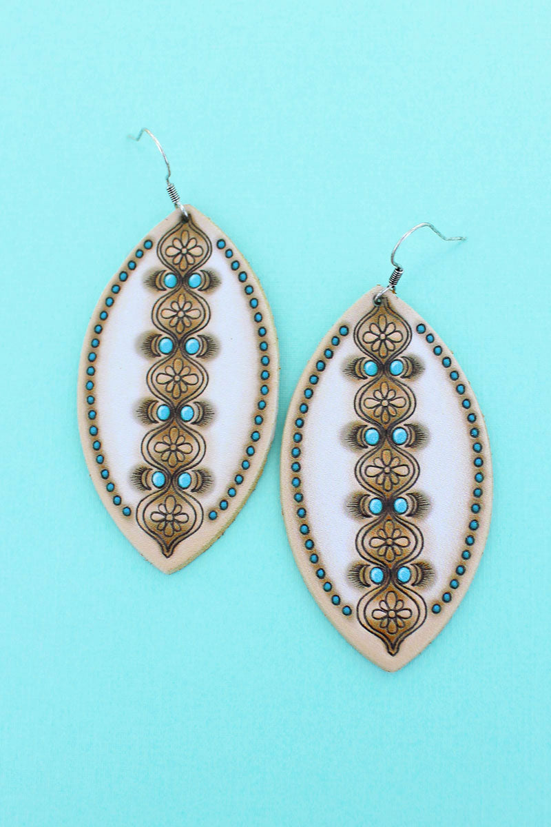 Ivory and Turquoise Moroccan Marquise Earrings