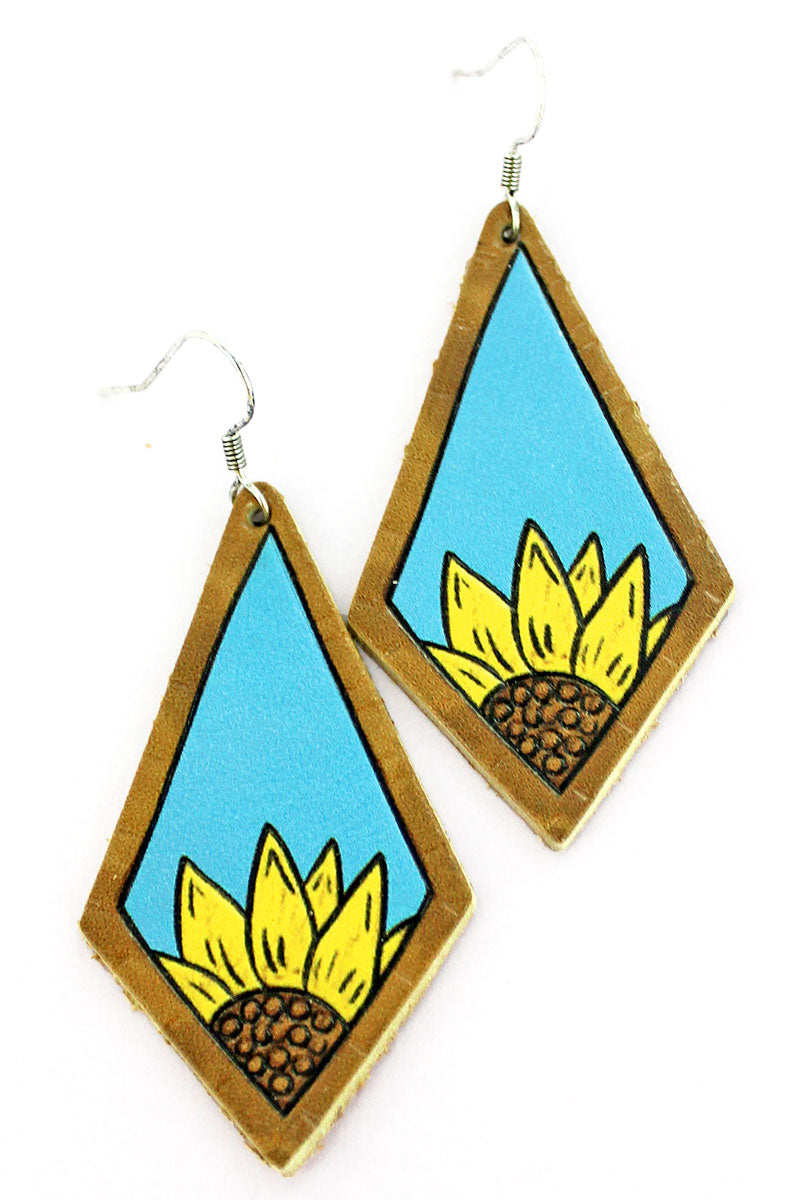 Sunflower Seasons Turquoise Faux Leather Kite Earrings