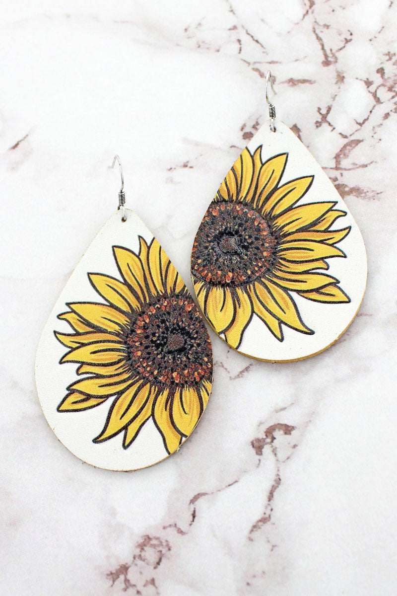 Sunflower Ivory Faux Leather Teardrop Earrings