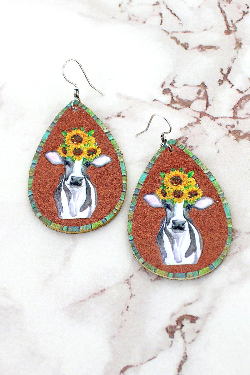 Sunflower Cow Faux Leather Teardrop Earrings