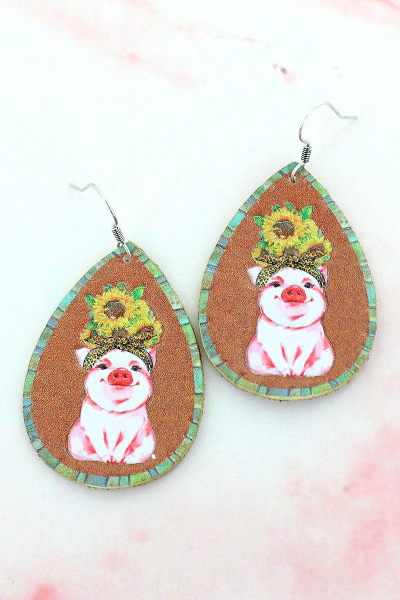 Sunflower Pig Faux Leather Teardrop Earrings