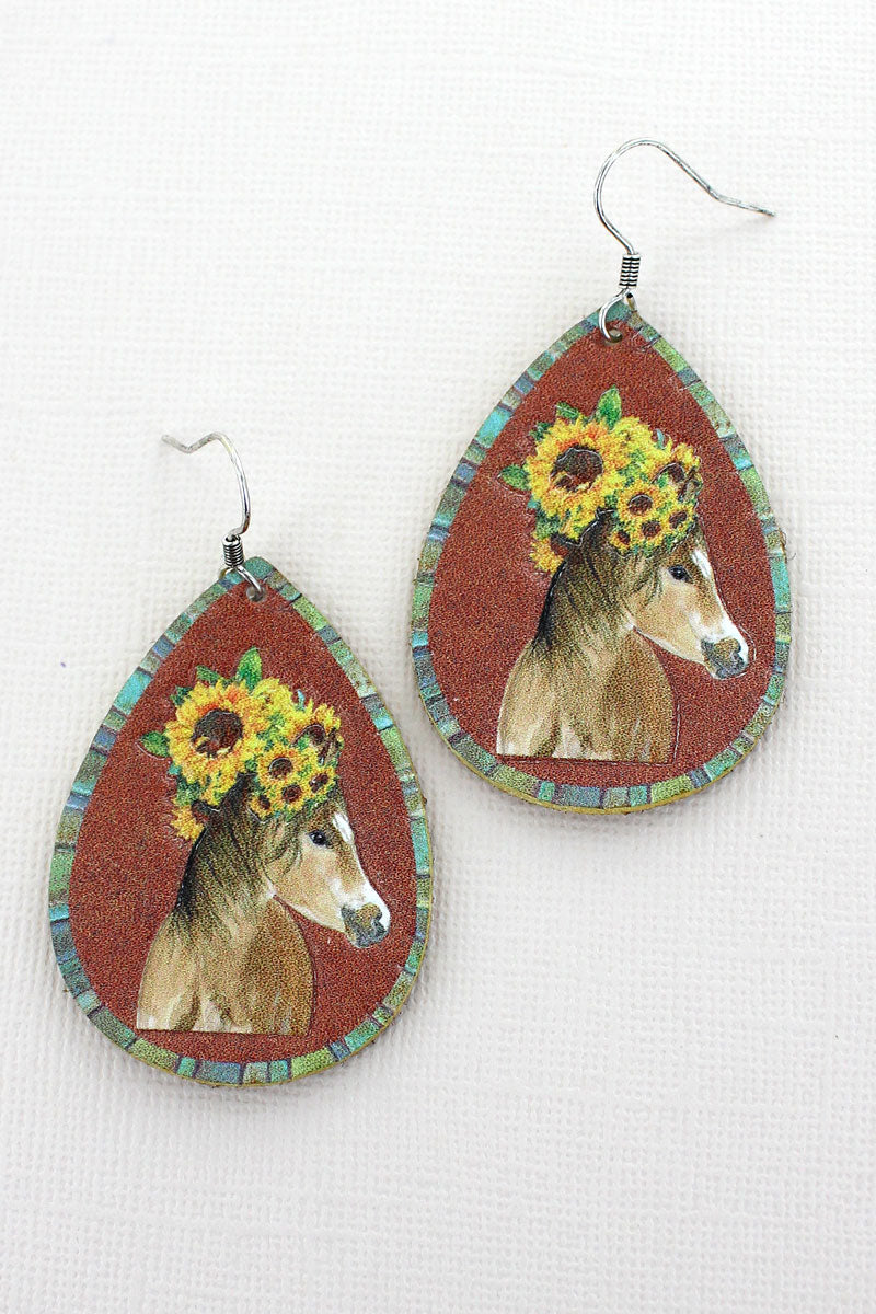 Sunflower Horse Faux Leather Teardrop Earrings