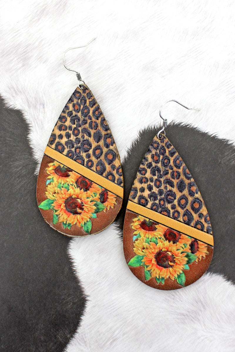 Leopard Sunflower Colorblock Faux Leather Teardrop Earrings
