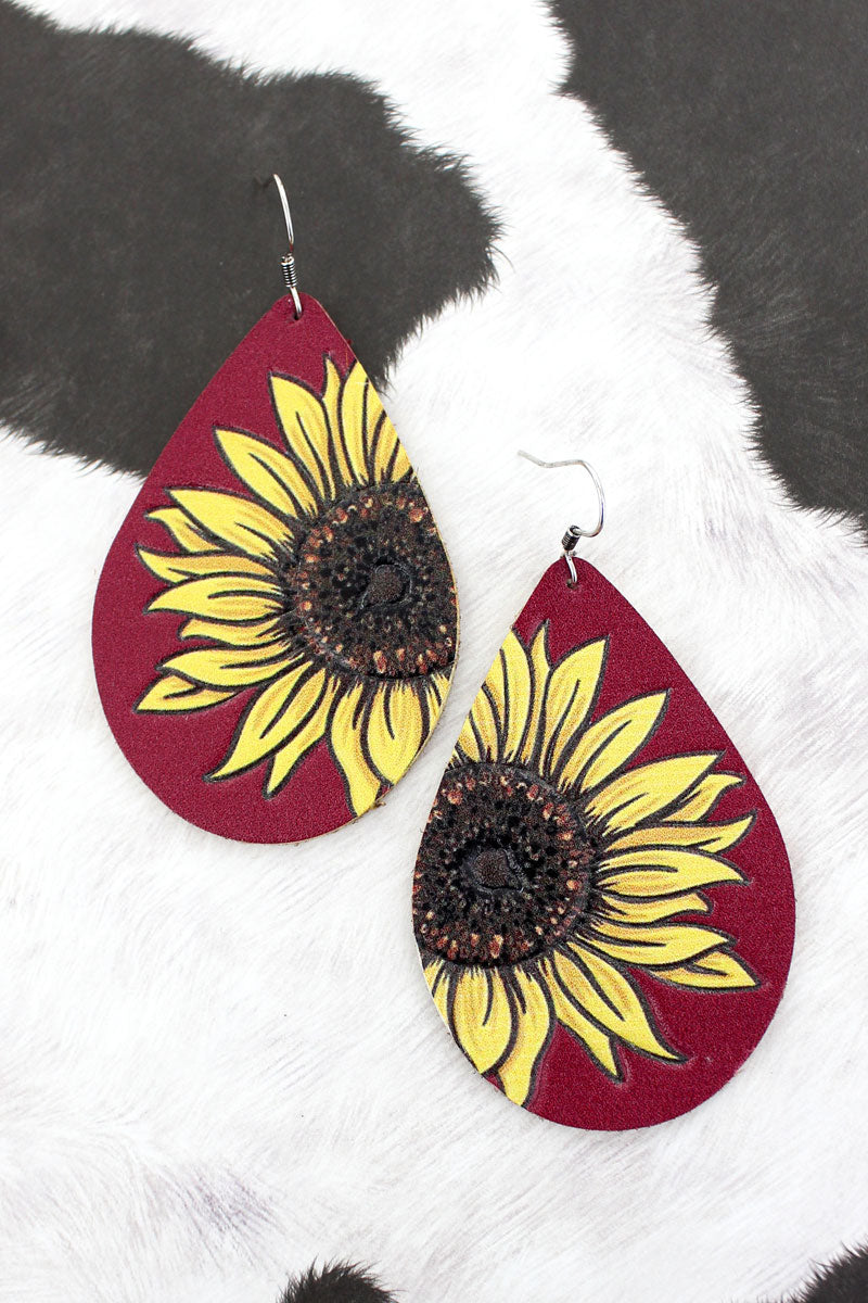 Sunflower Red Faux Leather Teardrop Earrings