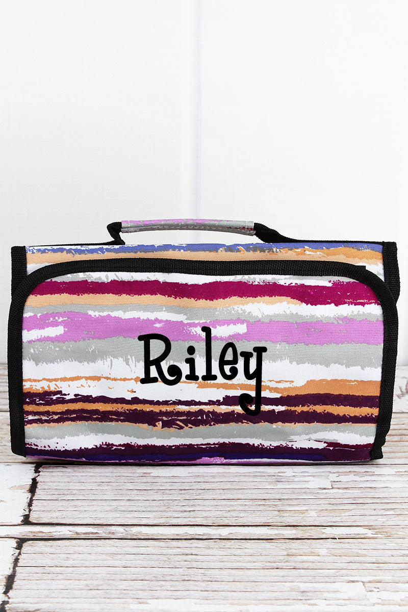 On The Horizon Roll Up Cosmetic Bag with Black Trim
