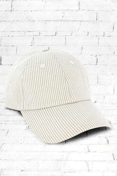 Khaki and White Seersucker Cap #F0303 (PLEASE ALLOW 3-5 BUSINESS DAYS. EXPEDITED SHIPPING N/A) - Wholesale Accessory Market