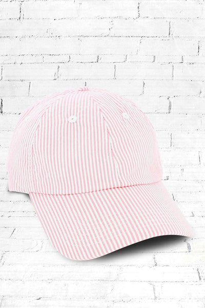 Pink and White Seersucker Cap