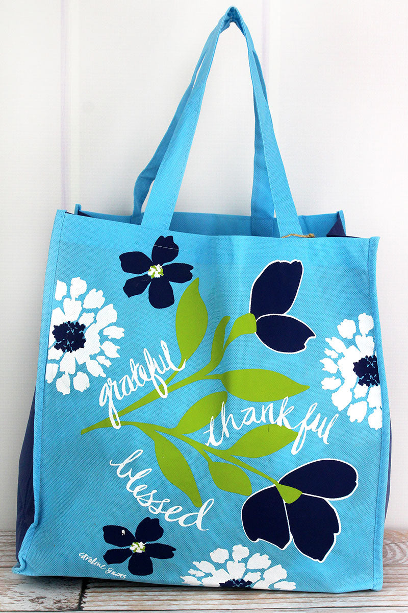 Grateful Thankful Blessed Blue Floral Tote Bag