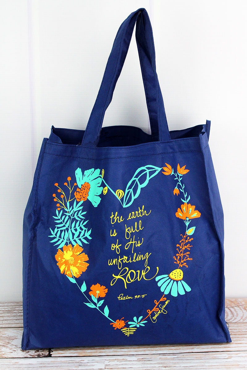 Unfailing Love Blue Floral Heart Bag