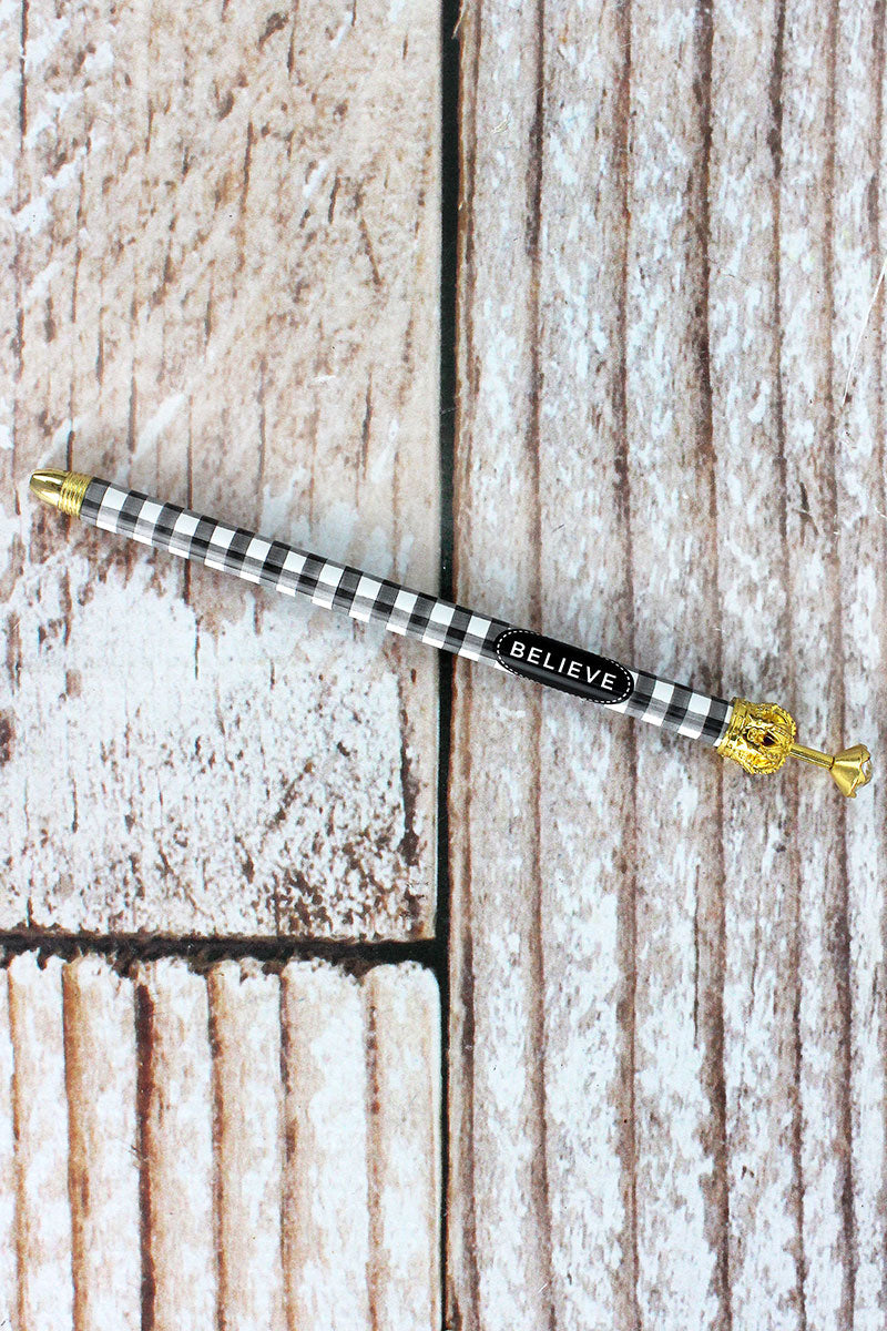 Believe Black and White Buffalo Check Rhinestone Crown Pen