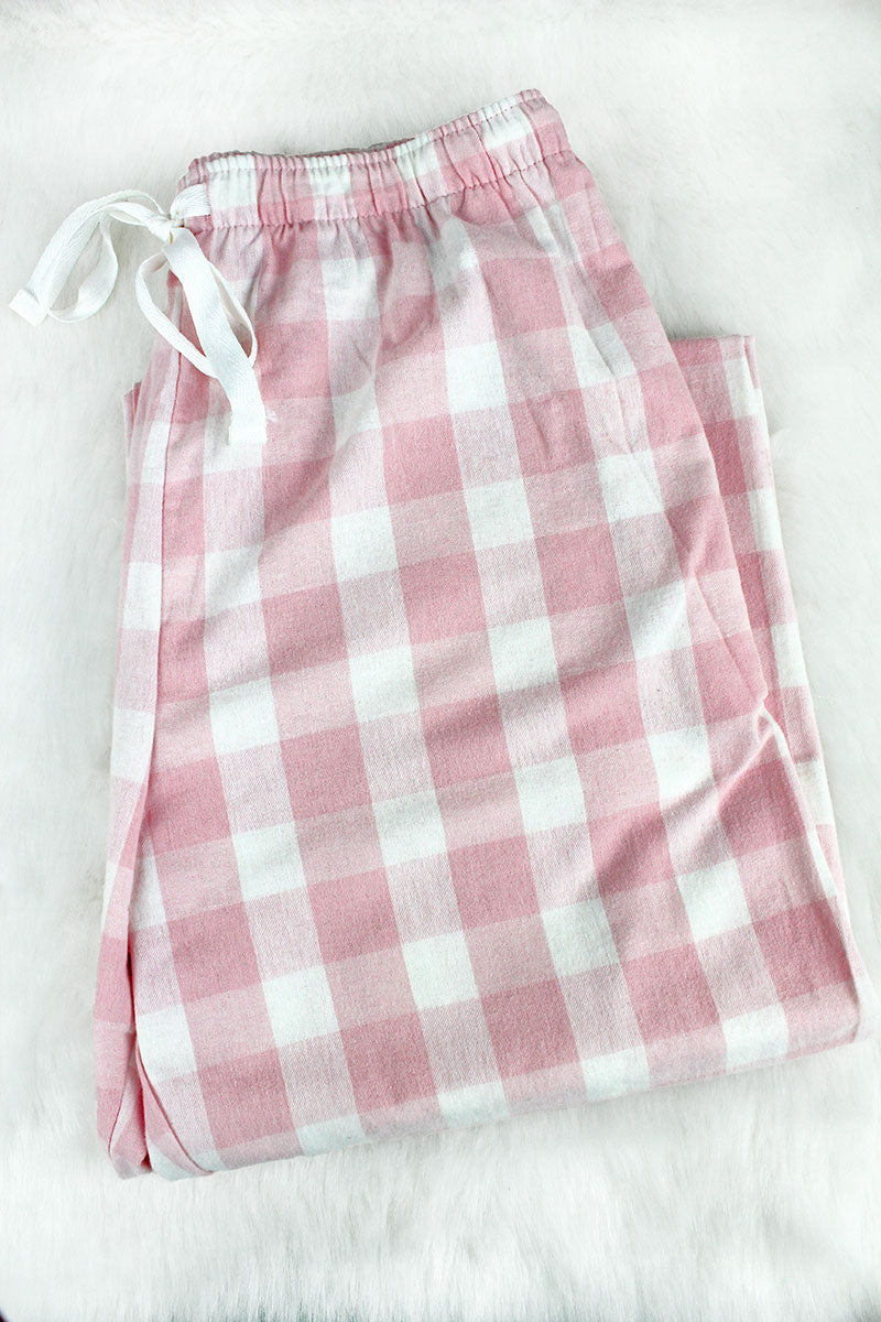 Boxercraft Pale Pink and Natural Buffalo Plaid Flannel Pajama Pant