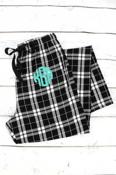 OOS! Black and White Plaid Flannel Pajama Pant #F20BLKW *Personalize It (PLEASE ALLOW 3-5 BUSINESS DAYS. EXPEDITED SHIPPING N/A)