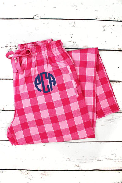 Bubblegum Plaid Flannel Pajama Pant #F20GUM *Personalize It (PLEASE ALLOW 3-5 BUSINESS DAYS. EXPEDITED SHIPPING N/A)