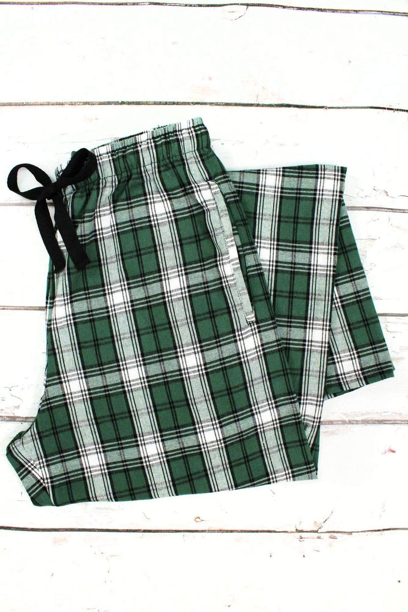 Green and White Plaid Flannel Pajama Pant #F20GW *Personalize It (PLEASE ALLOW 3-5 BUSINESS DAYS. EXPEDITED SHIPPING N/A)