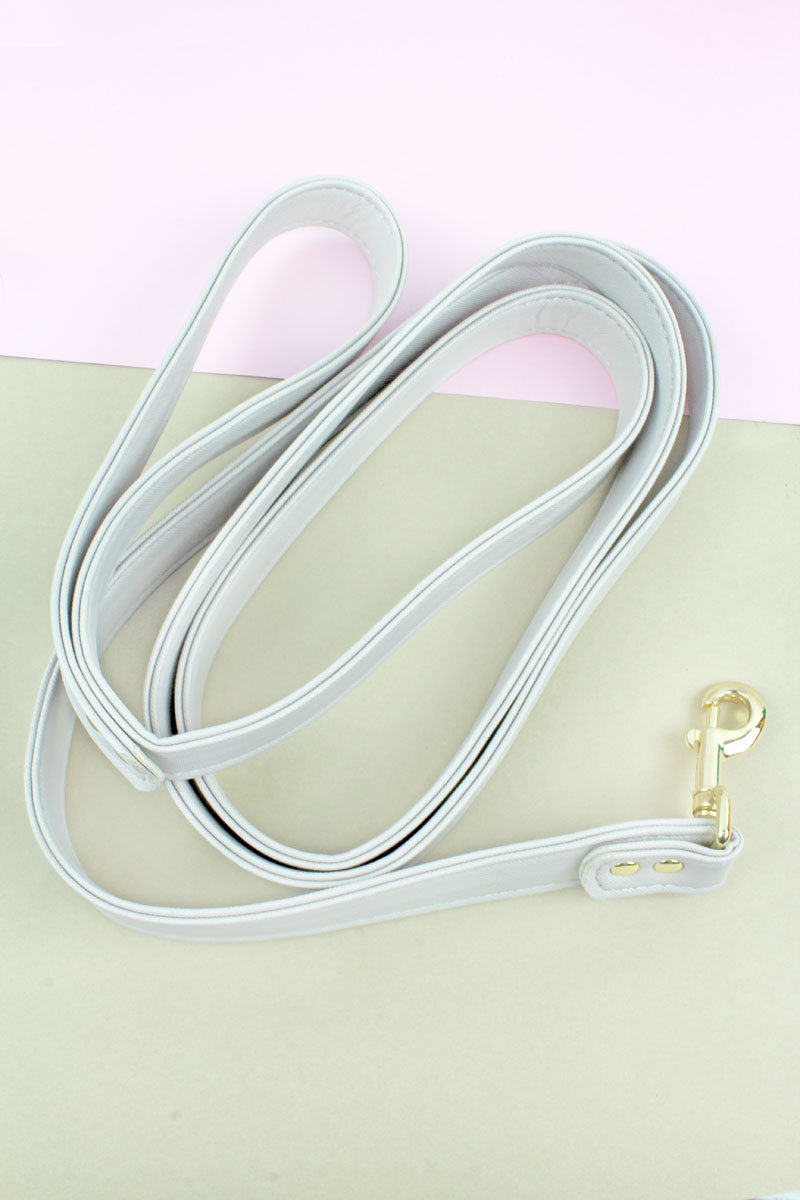 Gray Faux Saffiano Leather Leash
