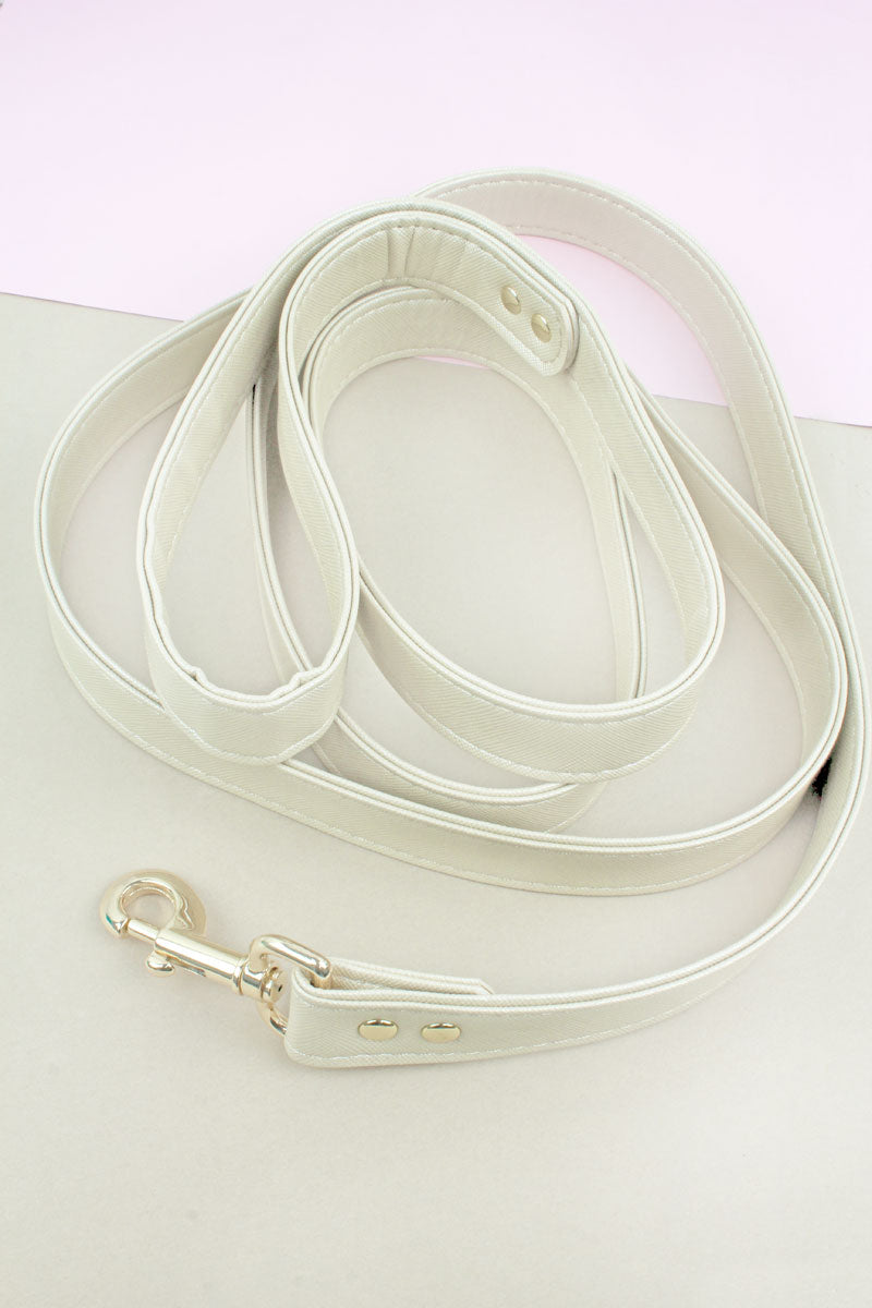Champagne Faux Saffiano Leather Leash