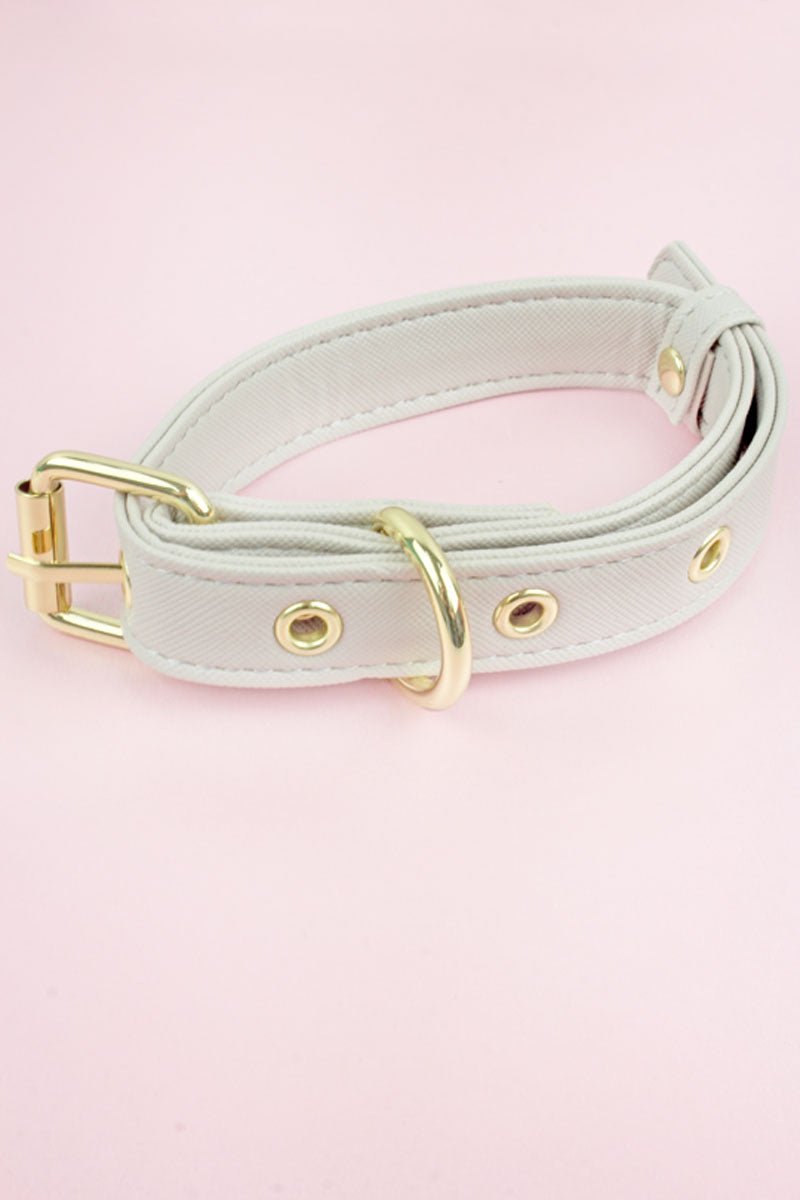 Gray Faux Saffiano Leather Collar