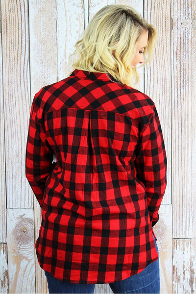 Boxercraft Red and Black Buffalo Plaid Ladies Flannel Shirt *Personalize It