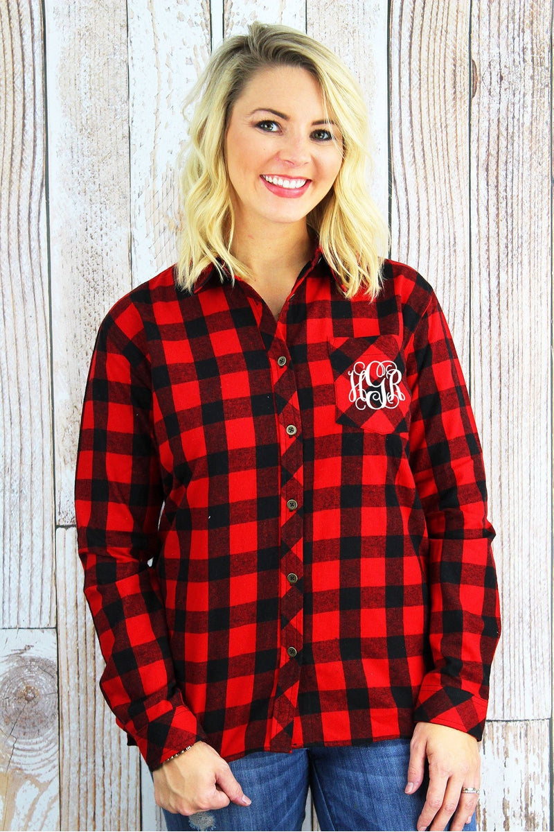 77b153ff7a23f1 Boxercraft Red and Black Buffalo Plaid Ladies Flannel Shirt *Personalize It