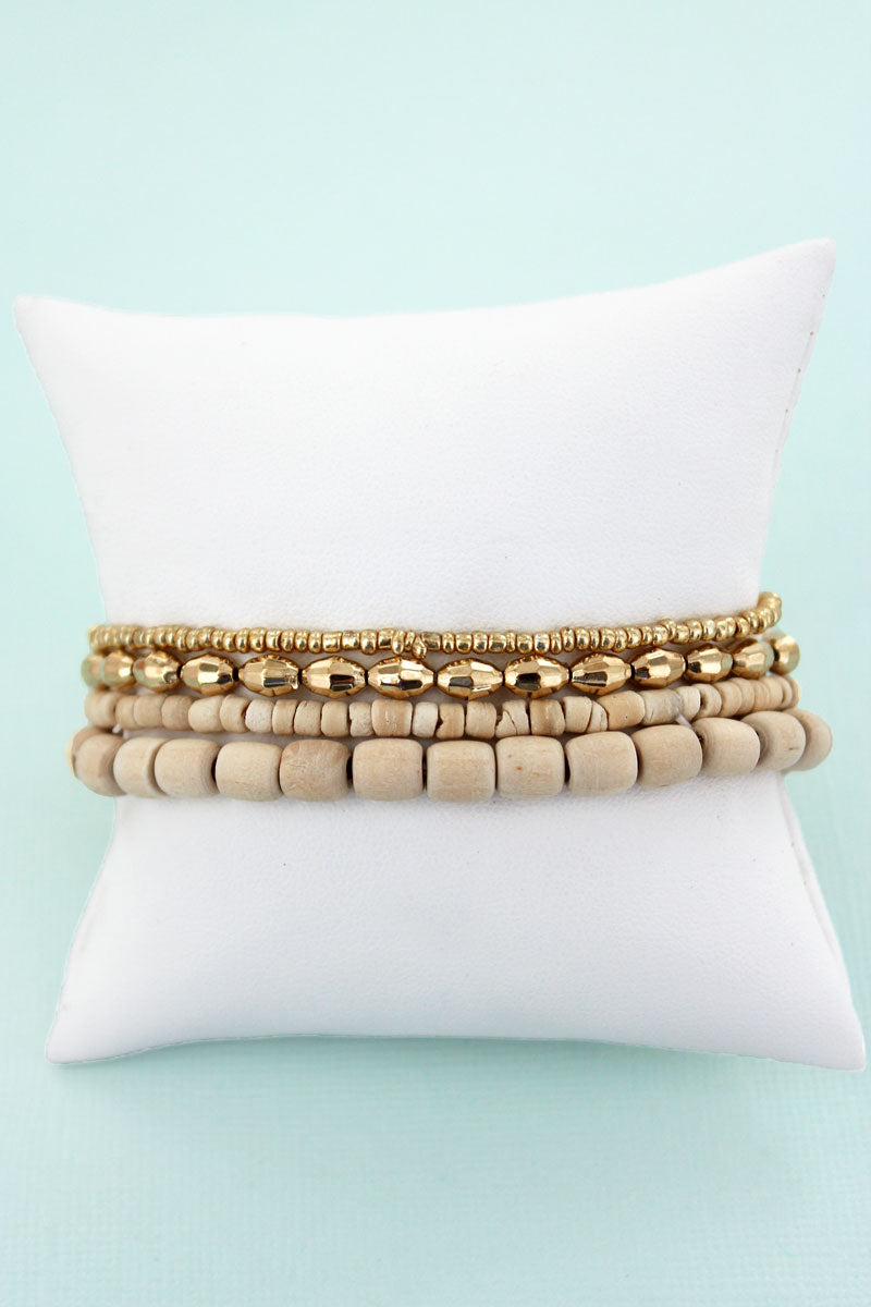 Light Wood and Goldtone Mixed Bead Stretch Bracelet Set