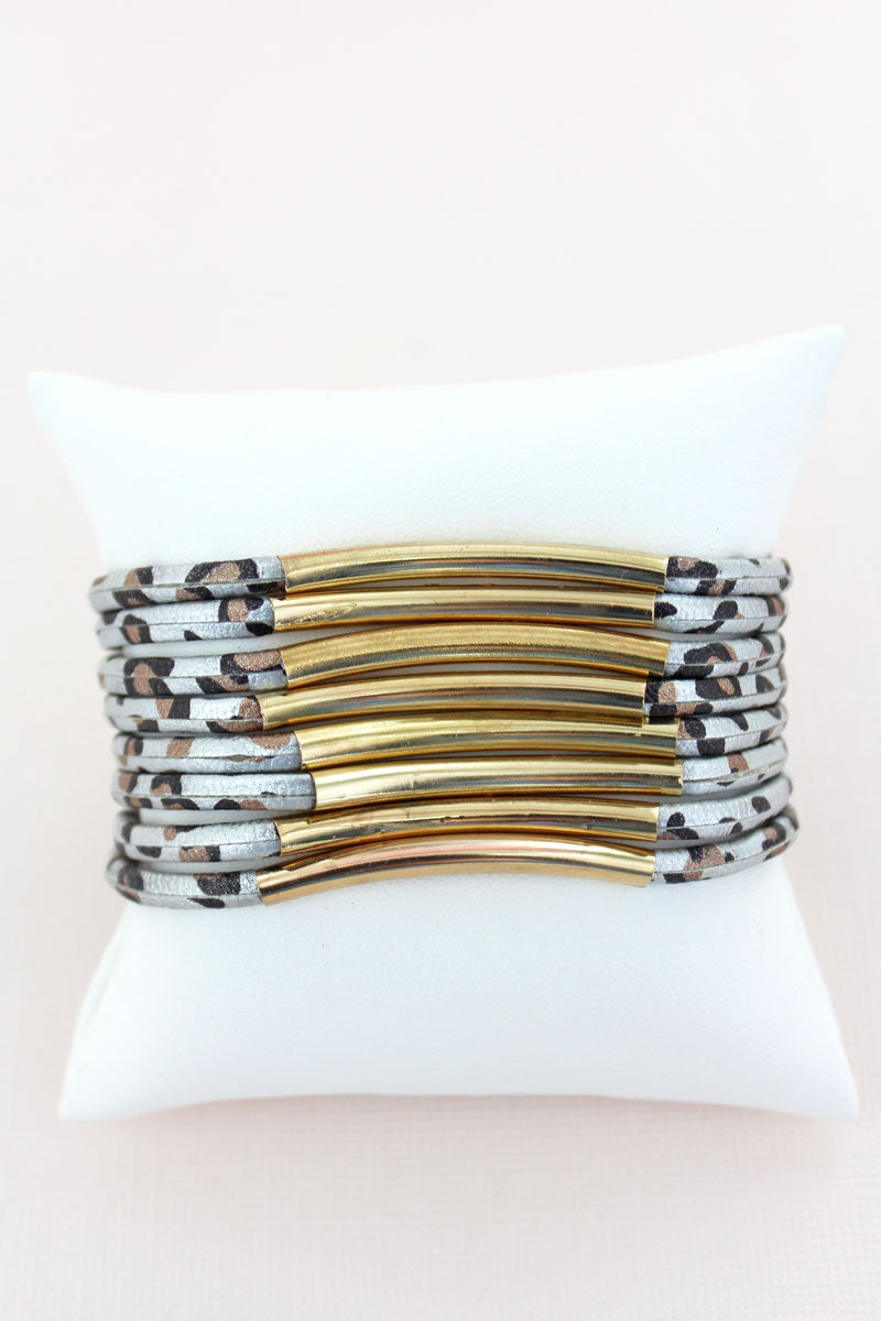Goldtone Bar Gray Leopard Multi-Strand Magnetic Bracelet