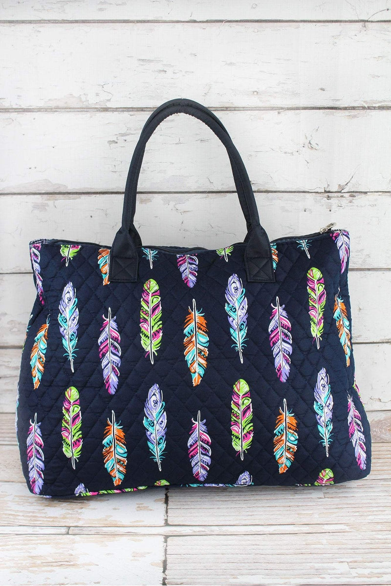 NGIL Fancy Feathers Quilted Large Shoulder Tote with Navy Trim