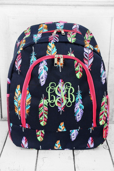 Fancy Feathers Large Backpack with Hot Pink Trim #FEA403-HPINK - Wholesale Accessory Market