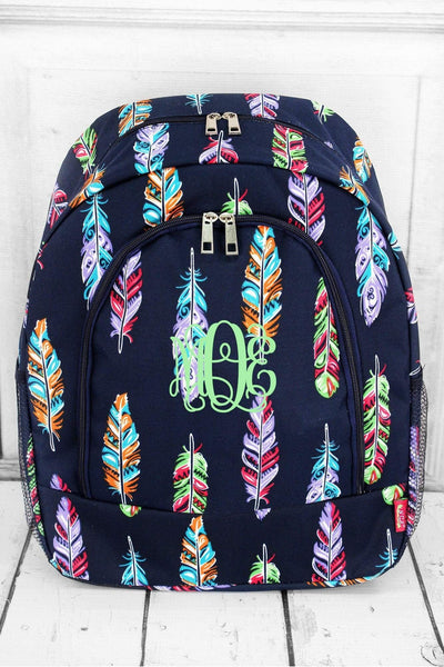 Fancy Feathers Large Backpack with Navy Trim #FEA403-NAVY - Wholesale Accessory Market