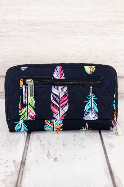 Fancy Feathers Quilted Organizer Clutch Wallet #FEA517-NAVY