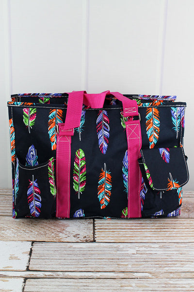 NGIL Fancy Feathers Utility Tote with Hot Pink Trim