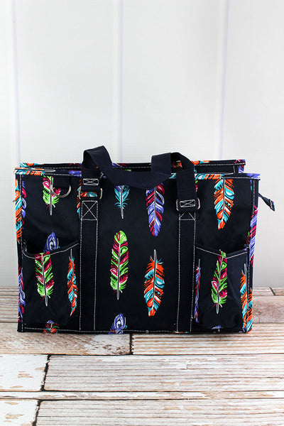 Fancy Feathers Utility Tote with Navy Trim
