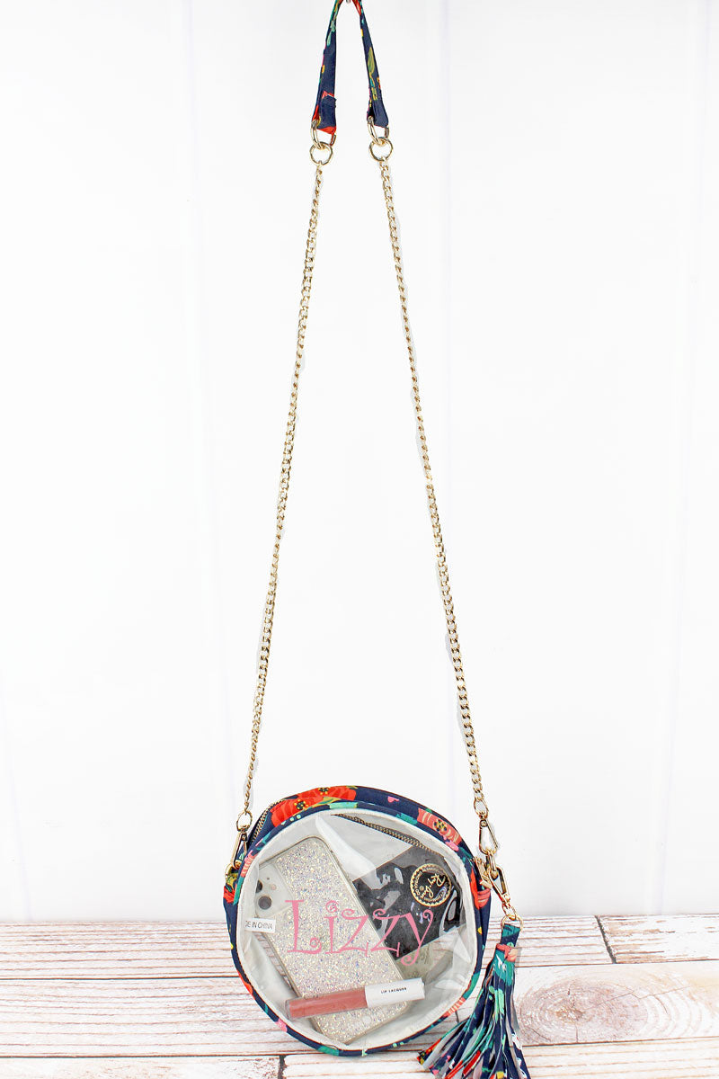 NGIL Clear Round Crossbody Bag with Spring Blossoms Trim