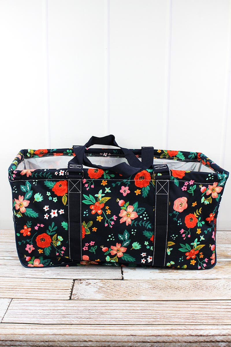 NGIL Spring Blossoms Collapsible Haul-It-All Basket with Mesh Pockets