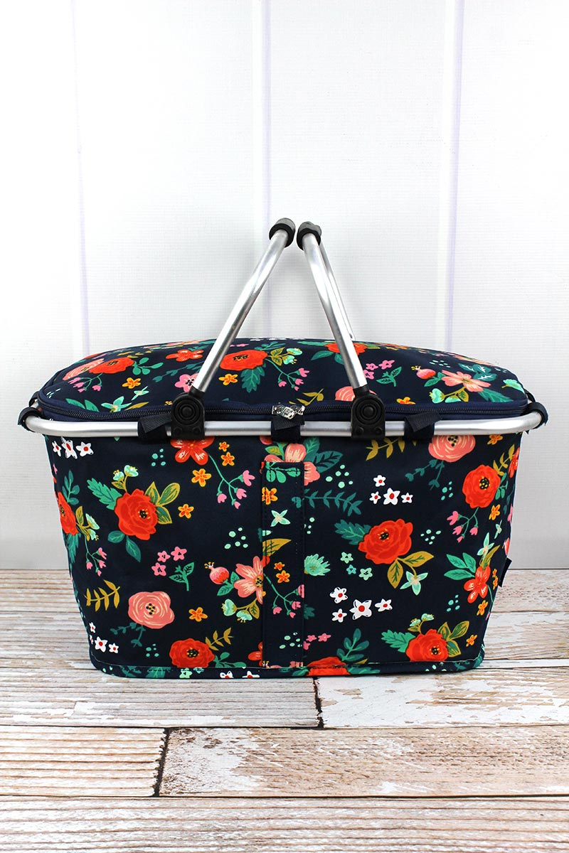 NGIL Spring Blossoms Collapsible Insulated Market Basket with Lid