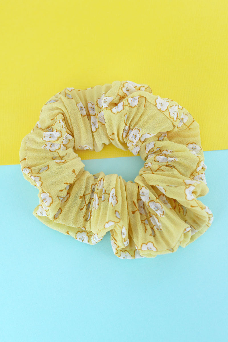 Blooming Beauty Yellow Scrunchie