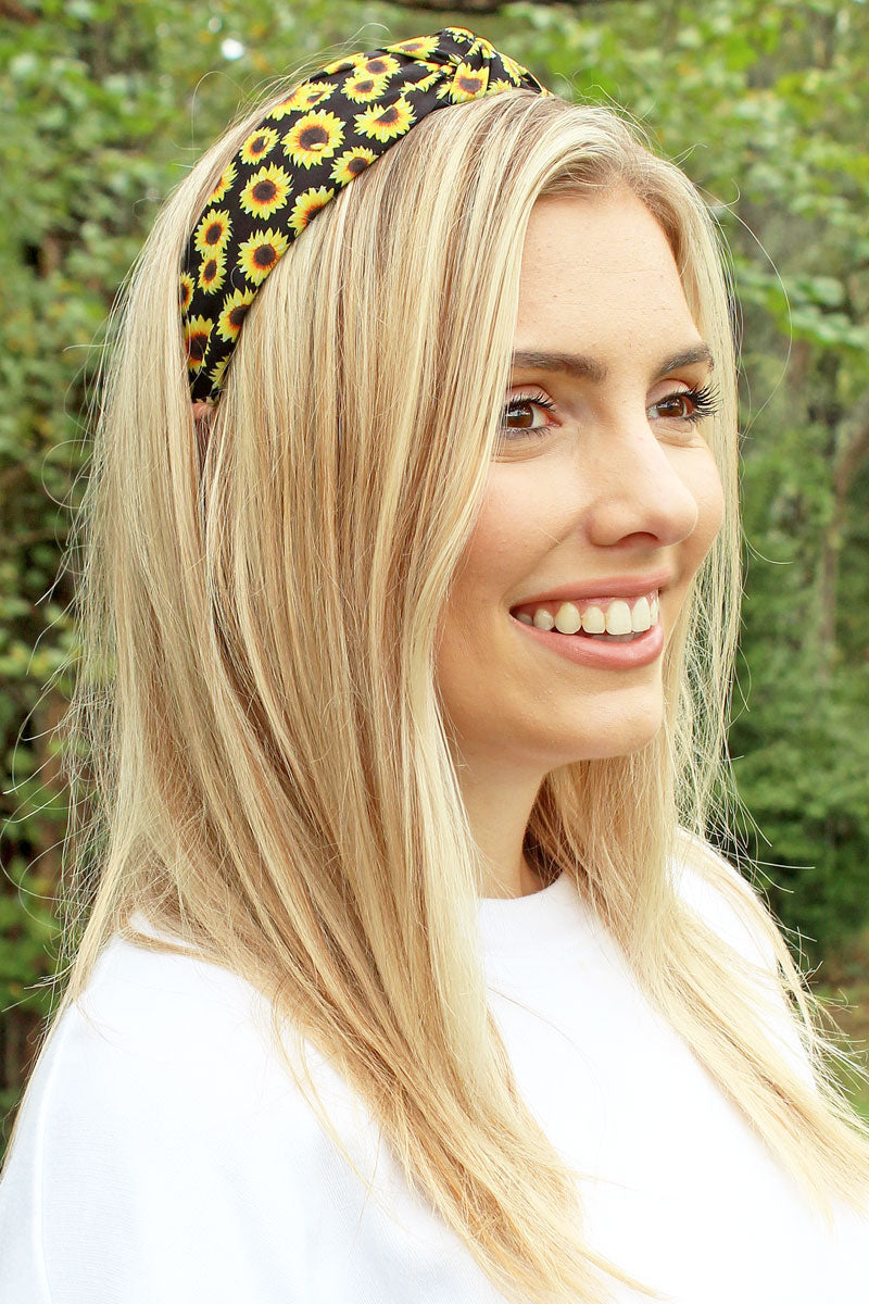 Sunflower Night Wide Twist Knot Headband