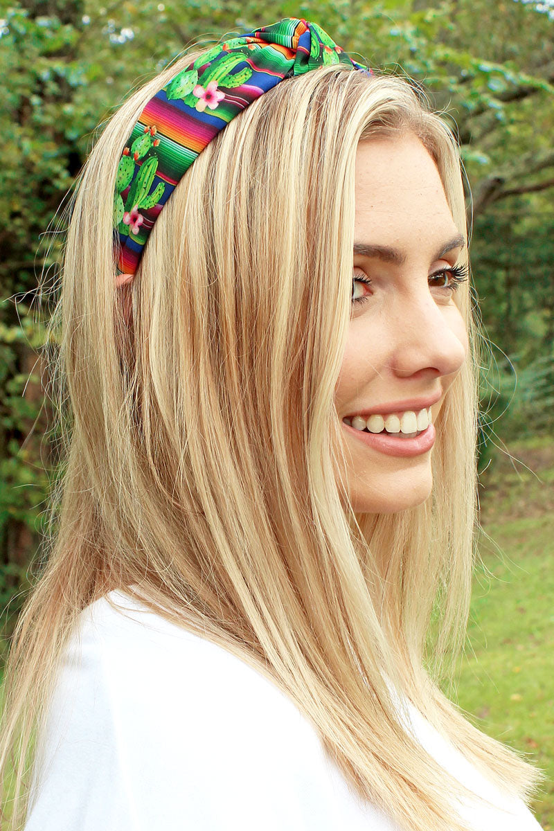 Cactus Serape Wide Twist Knot Headband