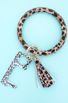Leopard No Touch Stylus Tassel Bangle Keychain