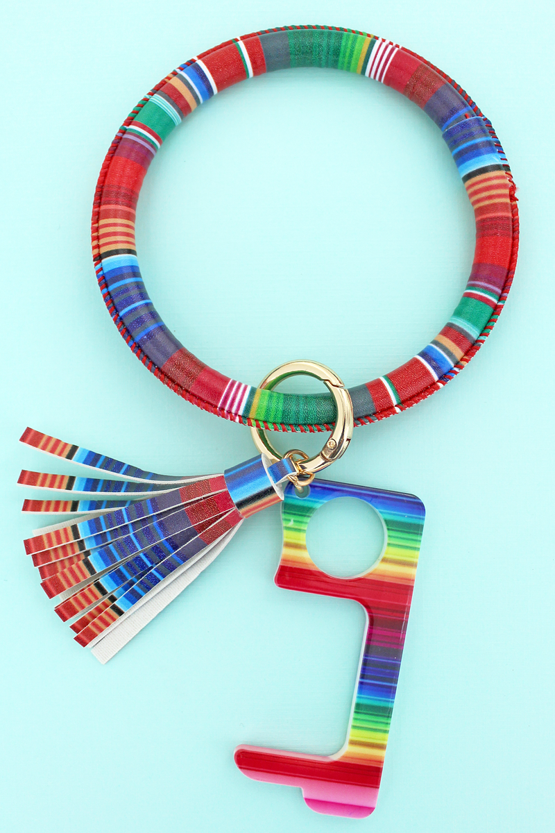 Serape No Touch Stylus Tassel Bangle Keychain