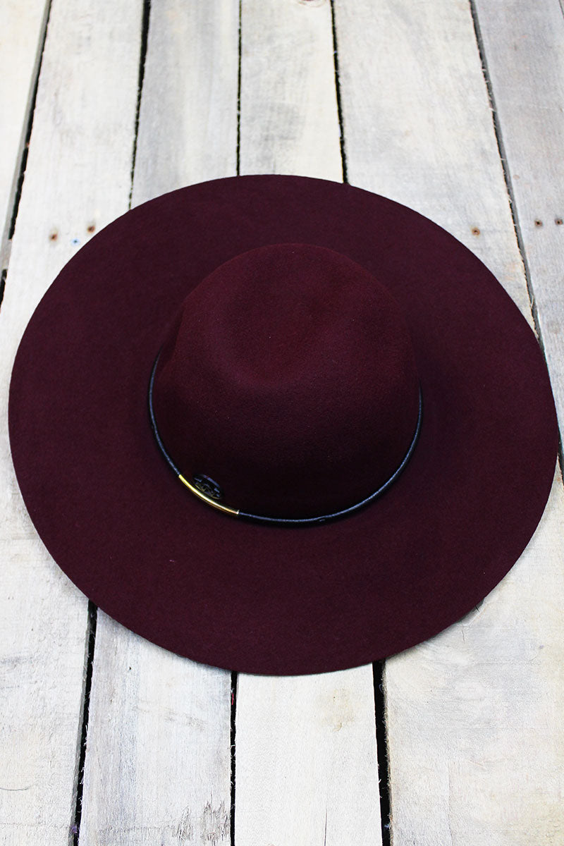 Denver Days Faux Leather Banded Wool Felt Floppy Hat, Burgundy