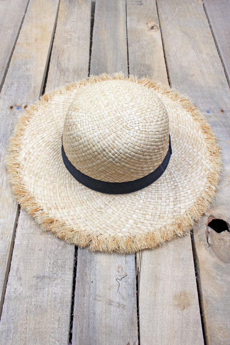 Island Vibes Raffia Floppy Hat, Natural