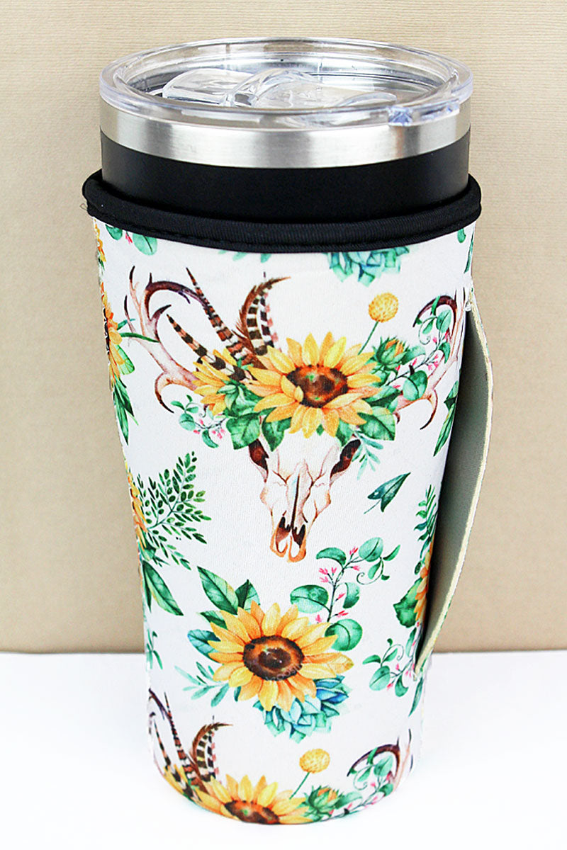 Sunflower Steer Skull Tumbler Drink Sleeve