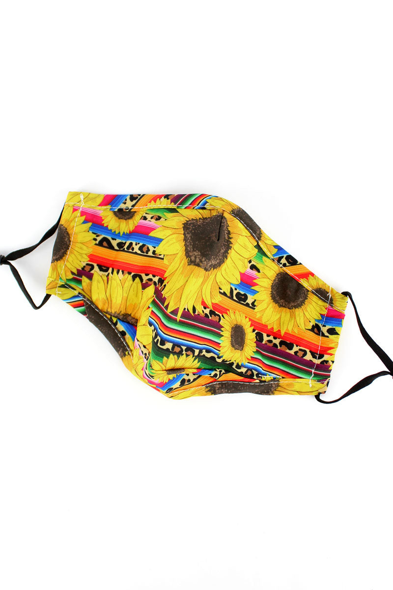 Sunflower Wild Serape Two-Layer Fashion Face Mask with Filter Pocket