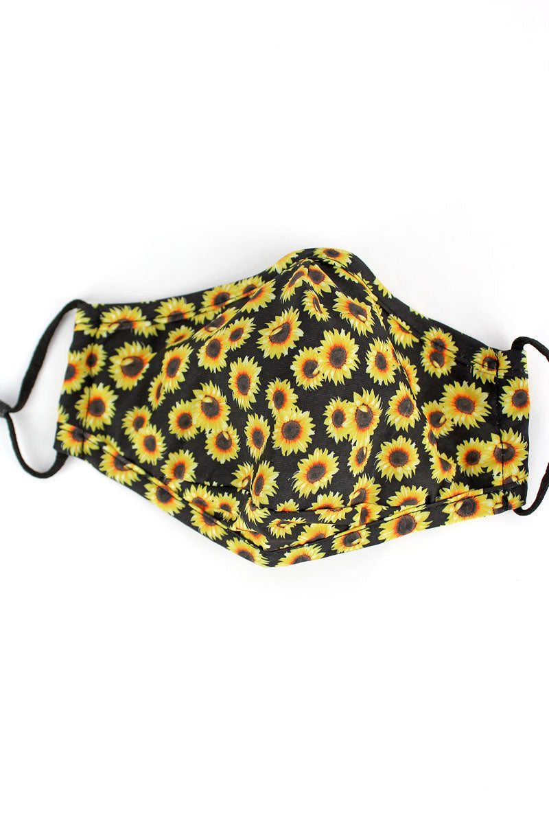 Sunflower Night Two-Layer Fashion Face Mask with Filter Pocket