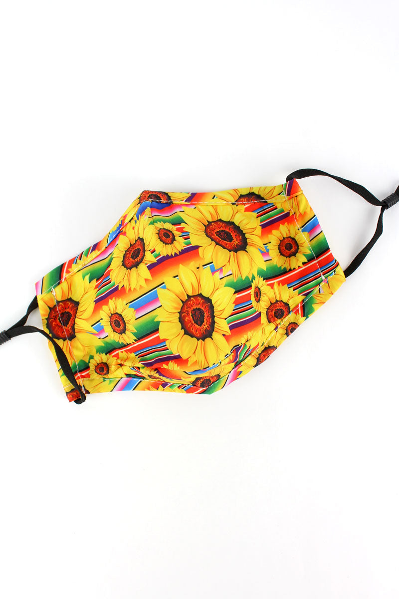 Sunflower Serape Two-Layer Fashion Face Mask with Filter Pocket