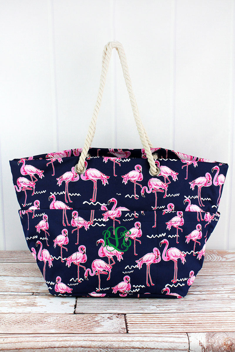 NGIL Flamingo Party Rope Handle Beach Tote